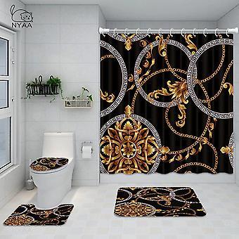 4pcs Bathroom Shower Curtain Shape Waterproof Bath Curtain Set Toilet Cover MatSet(180*180CM)