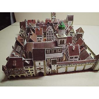 Town Building 3d Paper Model, Diy Hand-made