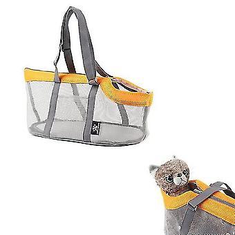Orange portable mesh pet bag breathable outdoor pet carriers handbag large capacity foldable cat bag cai1207