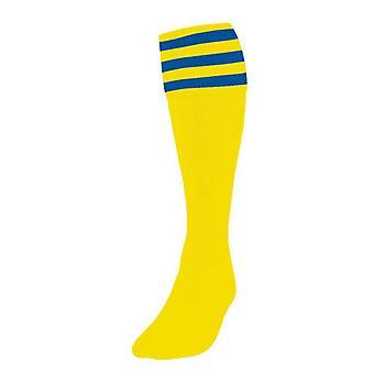 Presné žlté / Kráľovské 3 prúžkované futbalové ponožky Dospelý Spojené kráľovstvo Topánky 7-11