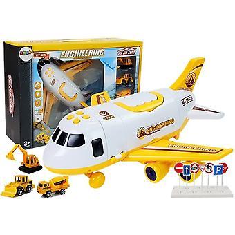 Avion de transport jucărie cu marfă – 1:64 – Galben Alb