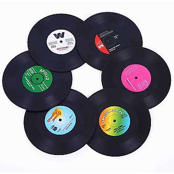 Coasters For Drinks-set Of 6 Colorful Retro Record Disk Decoration