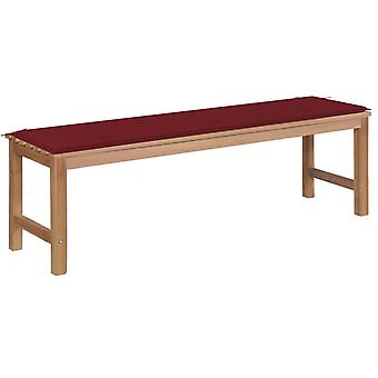 vidaXL garden bench with wine red pad 150 cm solid wood teak