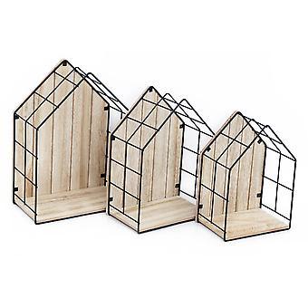 Trä & Trådhus formade displayenheter, uppsättning av 3
