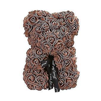 Valentine's day gift 25 cm rose bear birthday gift£? memory day gift teddy bear(Coffee)
