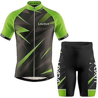 自転車の自転車ジャージ男性サイクリングジャージ通気性の短袖シャツとパッド入りのショートパンツmtb服のスーツ