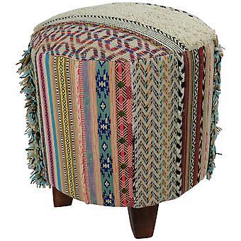 Hieno aasialainen pouf ottomaani käsintehty jakkara Durry Strep 41x41x41cm