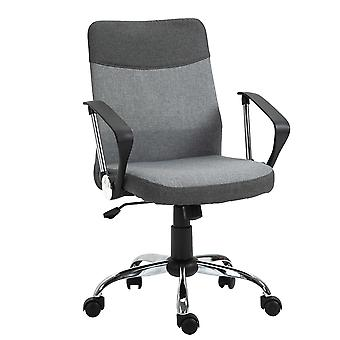 Vinsetto Office Chair Linen Fabric Swivel Computer Desk Chair Home Study Adjustable Chair with Wheels, Grey