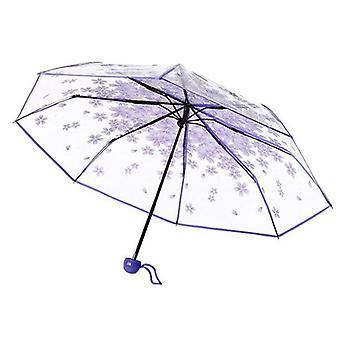 Transparante regen paraplu cherry blossom opvouwbare bumbershoot