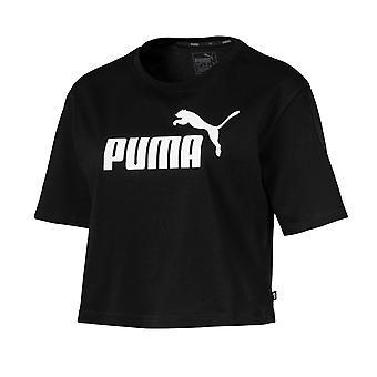Puma Essentials+ Logo Womens Ladies Fitness Fashion Crop Top T-Shirt Black