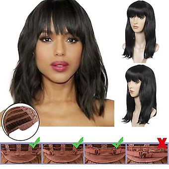 Black Wig with Bangs Ladies Womens Straight Wavy Shoulder Long Bob Style Wigs