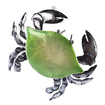 Silver Leaf Crab Christmas Holiday Ornament 5.75 Inches