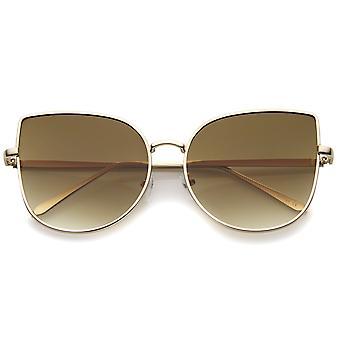 Oversize schlanke Metallrahmen Gradient flache Linse Cat Eye Sonnenbrille Frauen 58mm