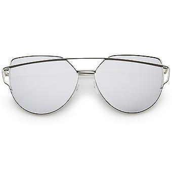 Oversize Metal Frame Thin Temple Color Mirror Flat Lens Aviator Sunglasses 62mm