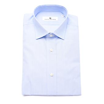 Pierre Balmain Men Slim Fit Cotton Dress Shirt Light Blue White Micro-Stripes