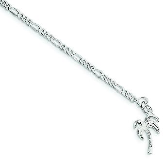 925 Sterling Silver Solid Polished Palm Tree Anklet Spring Ring Jewelry Gifts for Women - Length: 9 to 10