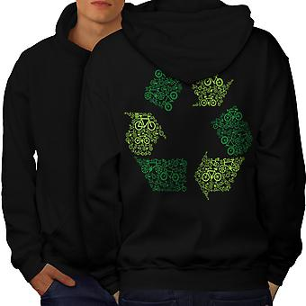 Green Art Eco Funny Men BlackHoodie Back | Wellcoda