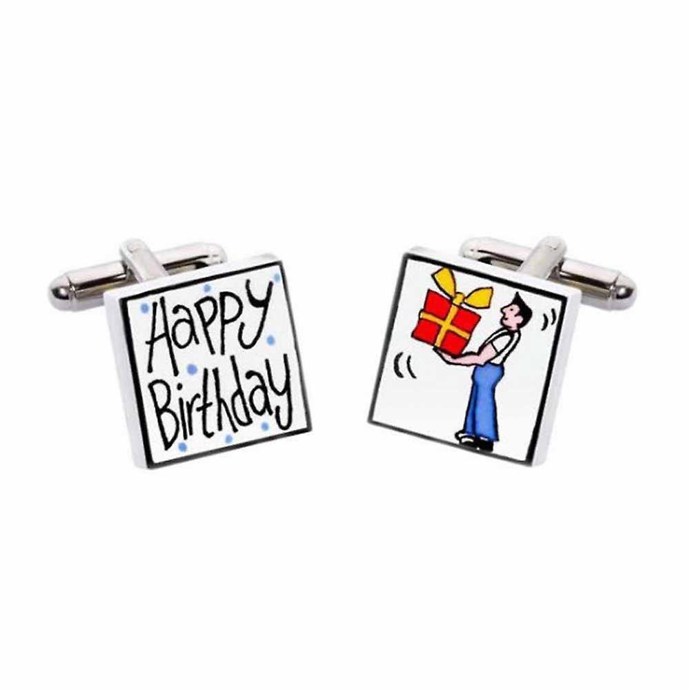 Happy Birthday Cufflinks by Sonia Spencer, in Presentation Gift Box. Hand painted