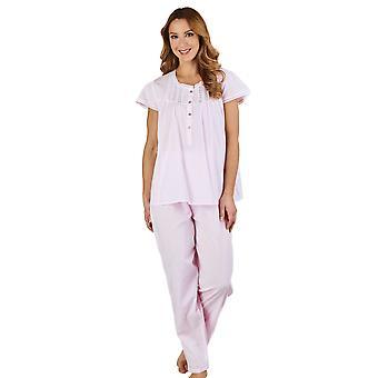 Slenderella PJ1272 Women's Lace and Pintucks Pink 100% Cotton Pajama Capped Sleeve Pyjama Set