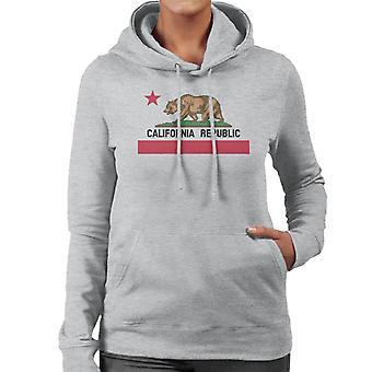 Urso de estado da República da Califórnia bandeira moletom com capuz feminina