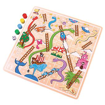 Bigjigs leksaker trä traditionella ormar och stegar spel spela Set