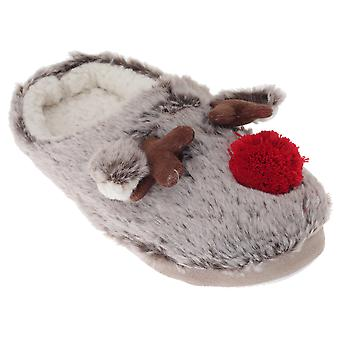 SlumberzzZ Womens/Ladies Fleece Lined Reindeer Slippers With Rubber Sole
