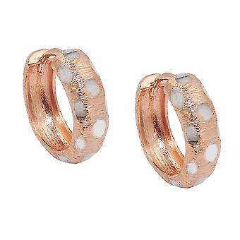 Creole 15x5mm hinged flip top bicolor 9Kt rose gold rhodium-plated