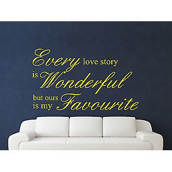 Every Love Story Is Wonderful Wall Art Sticker - Bright Yellow