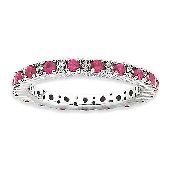 2.25mm 925 Sterling Silver Prong set Rhodium plated Stackable Expressions Polished Created Ruby and Diamond Ring Jewelry