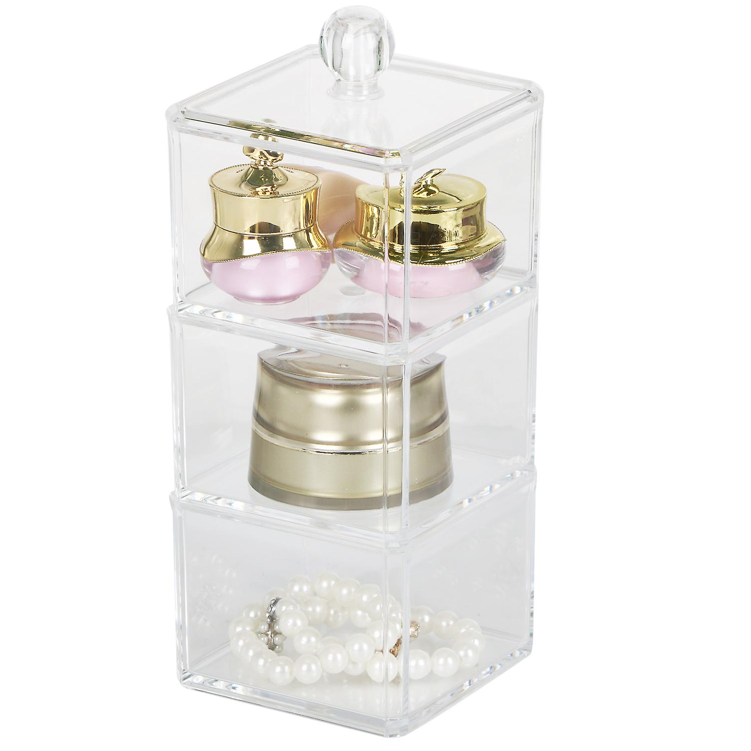 Transparent 3 Tier Stackable Cosmetic Organiser Storage Trinket Box - By TRIXES