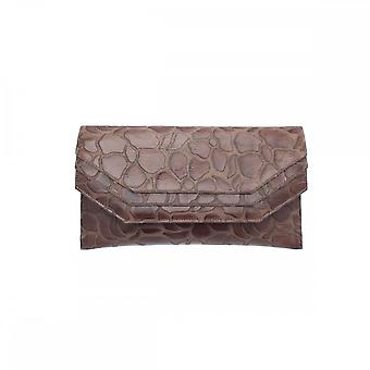 Sabrina Chic Brown Leather Envelope Style Clutch Bag