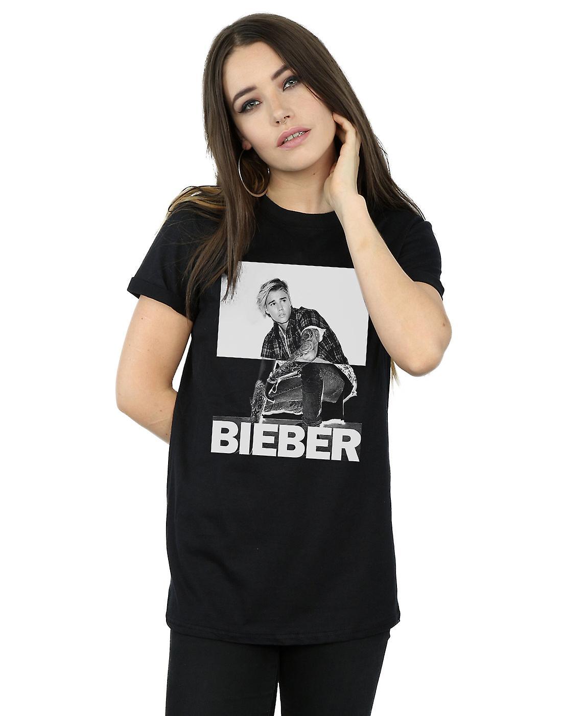 Justin Bieber Women's Split Contrast Boyfriend Fit T-Shirt