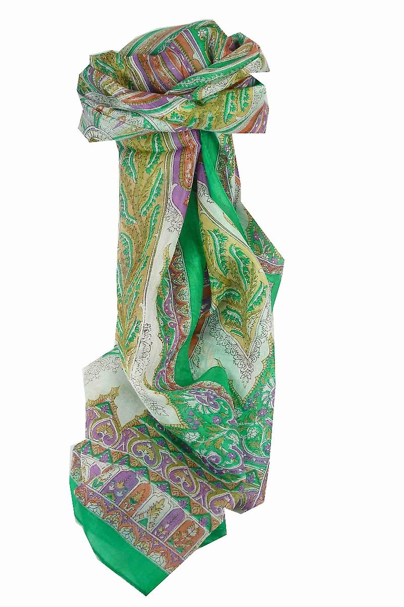 Mulberry Silk Traditional Long Scarf Biri Green & Pink by Pashmina & Silk