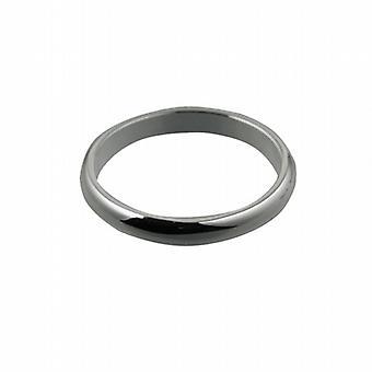 llano de 3mm oro blanco 18 quilates D formado Z de tamaño de anillo de boda