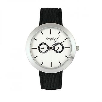 Simplify The 6100 Canvas-Overlaid Strap Watch w/ Day/Date - White/Black