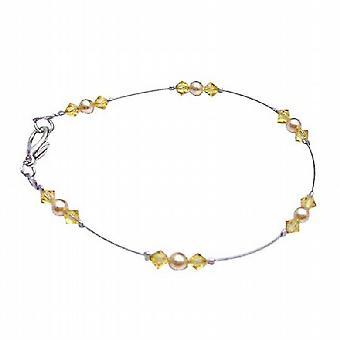 Guld perler & Citrine Krystaller lækkeri Swarovski unikke Combo armbånd