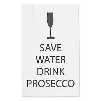 Save Water Drink Prosecco White Tea Towel Grey Text