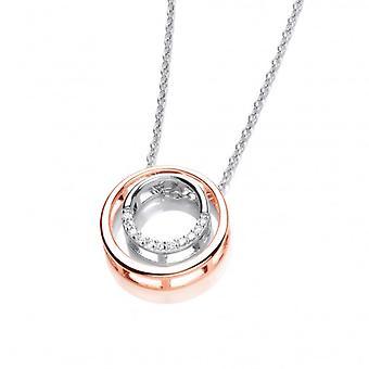 Cavendish Ranskan hopea, Rose Gold ja Cubic Zirkonia Double Circle kaulakoru