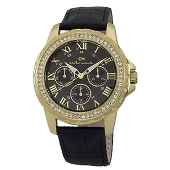 Carlo Monti CM600-222-wristwatch, leather, color: black
