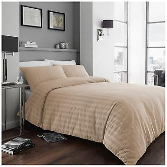 Seersucker Duvet Quilt Cover Ruffled Polycotton Bedding Set with Pillow Case