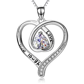 925 Sterling Silver Love, Live, Laugh Heart Pendant Necklace