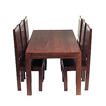 Phoenix Dark Mango 6 Seater Dining Set With Wooden Chairs