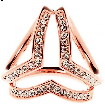 Intrigue Womens/Ladies 3 Hooped Diamante Scarf Ring