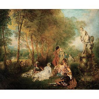A Love Festival, Jean-Antoine Watteau, 50x40cm