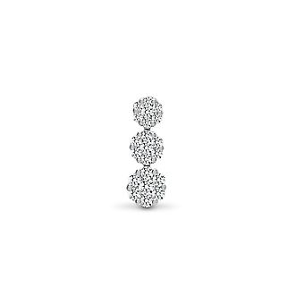 Jewelco London Solid 18ct White Gold Pave Set Round G SI 0.5ct Diamond Trilogy Cluster Drop Pendant