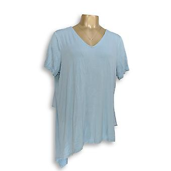 Lisa Rinna Collection Women's Top L V-Neck Top w/ Chiffon Blue A303168 PTC