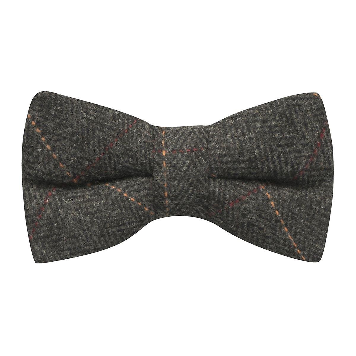 Luxury Herringbone Charcoal Grey Tweed Bow Tie, Bowtie