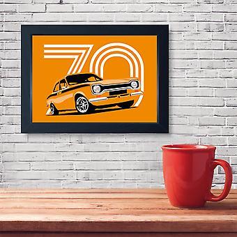 Orange Mk1 Escort Messico, Qualità Stampa Incorniciata - Cucina Bagno Uomo Cave Arte
