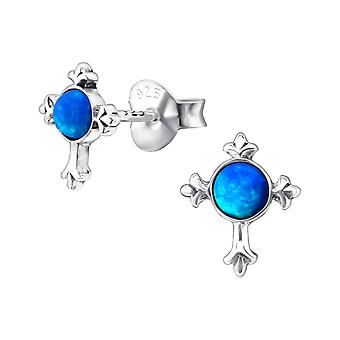 Cross - 925 Sterling Silver Opal and Semi Precious Ear Studs - W23678X