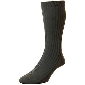 Pantherella Rutherford Merino royale sokken-houtskool